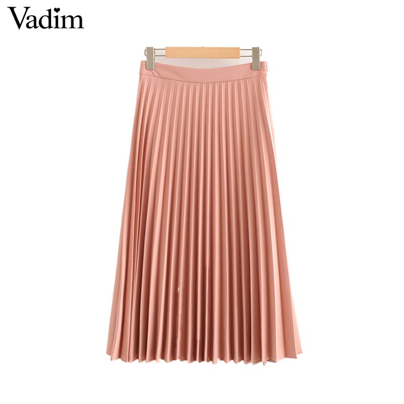 Image 2 - Vadim womem basic solid pleated skirt side zipper green black midi skirts female casual cozy fashion mid cald skirts BA865Skirts   -