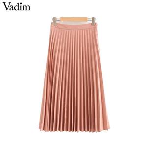 Image 2 - Vadim womem basic solid pleated skirt side zipper green black midi skirts female casual cozy fashion mid cald skirts BA865