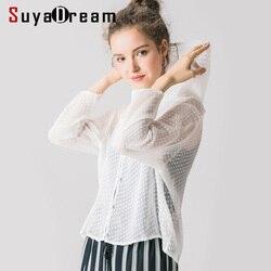 Женская блузка с капюшоном рубашка 100% натуральный шелк жоржет белые блузки в горошек с длинными рукавами блузки 2019 осень зима прозрачная ру...