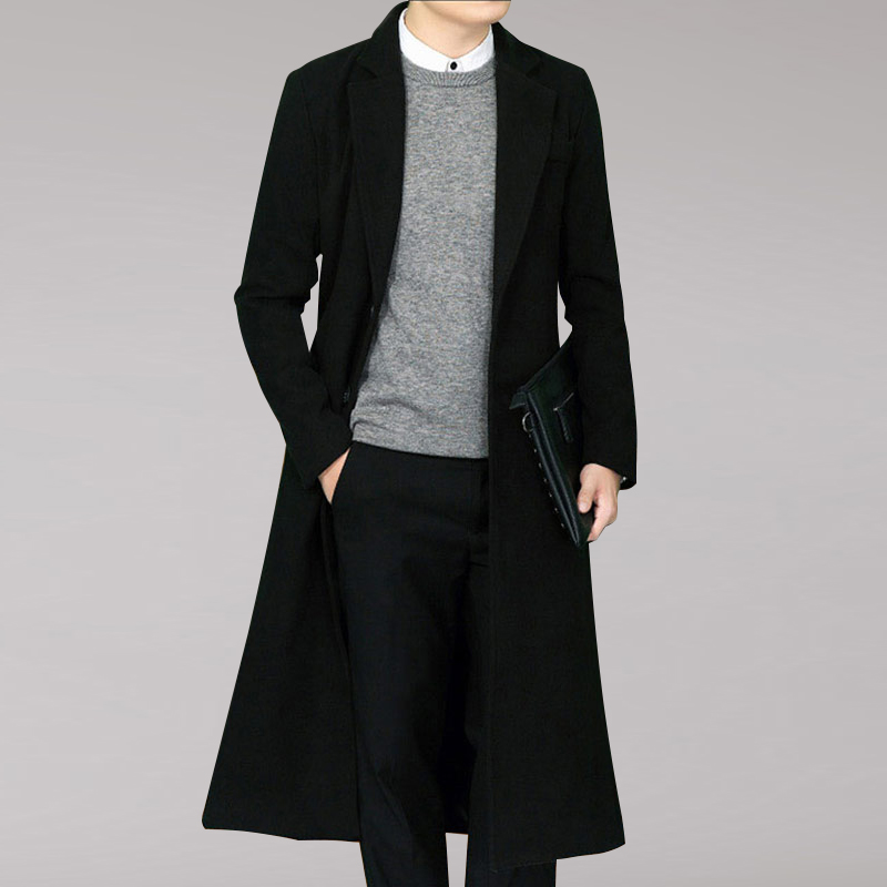 High Quality Trench Coat Winter Woolen Coat Men Leisure Long Sections  Pure Color Slim Fit Single Breasted Casual Overcoat