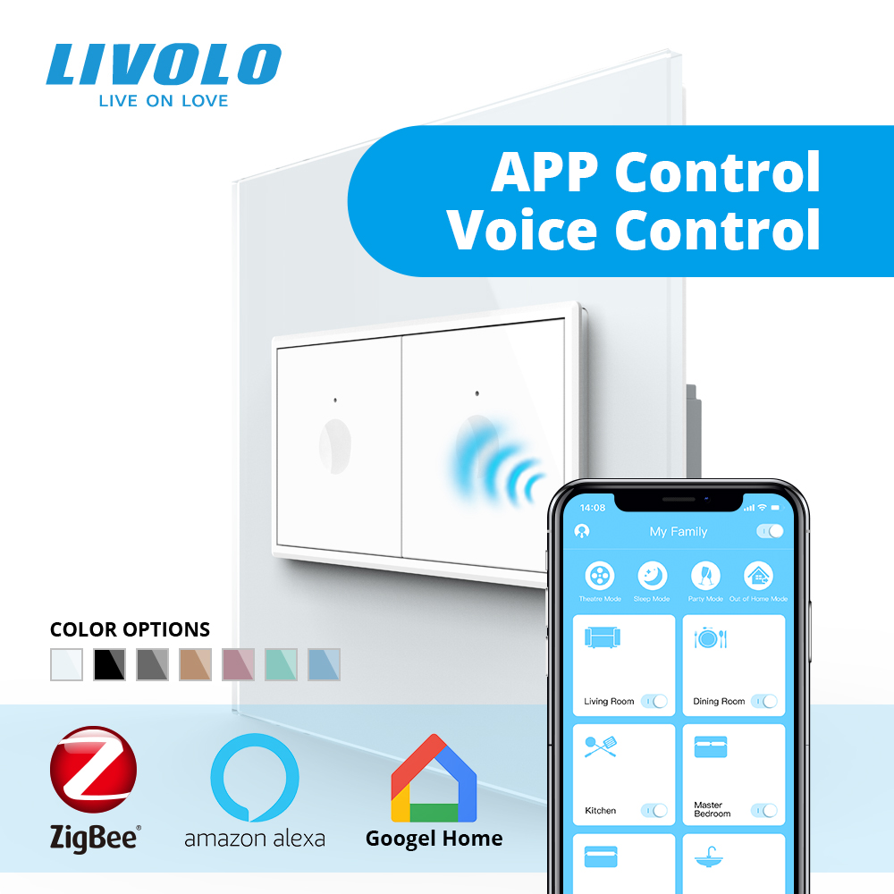 Livolo US AU Standard 90mm Smart Wifi Wall Touch Switch,app Smartphone Touch Control,white Crystal Glass,plastic Key,cross
