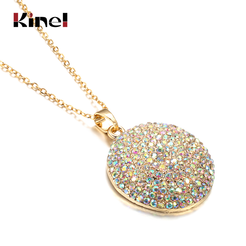 Kinel Hot Colorful Crystal Women Big Pendant Necklace Gold Color Morocco Banquet Wedding Necklace Statement Jewelry Crystal Gift