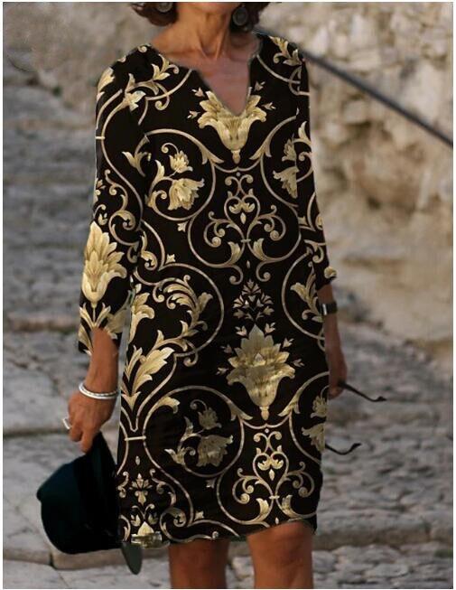 Женское платье-футляр до колена, с рукавом до локтя и цветочным принтом, свободное Повседневное платье с V-образным вырезом для отпуска, лето...