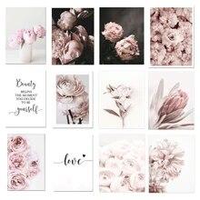 Flor fresca rosa parede arte da lona paisagem pintura menina quarto decoração fotos lona quadros decorativos decoração para casa fotos