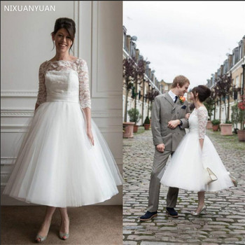 2020 Summer A Line Wedding Dresses 3/4 Long Sleeve Tulle Tea Length Cheap Bridal Gowns