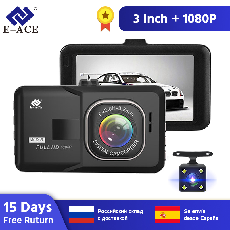 E-ACE B03 Mini <font><b>Car</b></font> DVR 3 Inch FHD 1080P Dual Camera Lens 170D Angle Video Recorder Camcorder Dash <font><b>Cam</b></font> <font><b>Registrator</b></font> Night Version image