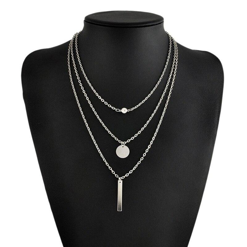 2020 Новая мода Европейский позолоченный посеребренный женский ювелирный воротник многослойный Бар Монета ожерелье ключицы цепи
