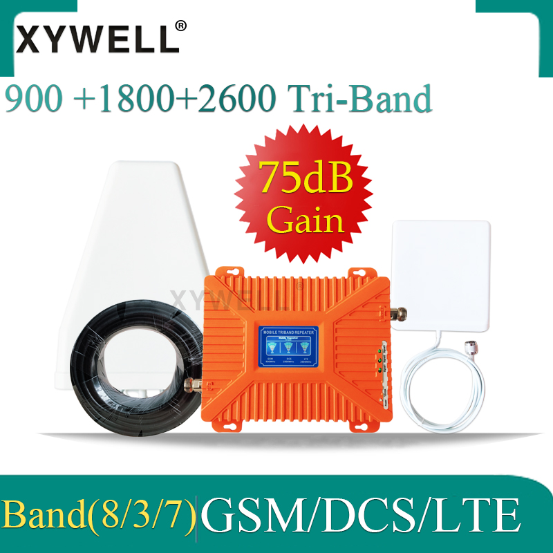 XYWELL 2G 3G 4G Triple Band Signal Repeater GSM 900+DCSLTE 1800+FDD LTE 2600 Mobile Phone Signal Booster Cellular Amplifier