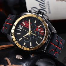 Nowe mody męskie zegarki kwarcowe kalendarz męskie zegarki Casual wodoodporne marki zegarki luksusowe dla mężczyzn gumowe z chronografem na pasku tanie tanio BINBOND 22inch Moda casual QUARTZ NONE 3Bar Sprzączka CN (pochodzenie) STAINLESS STEEL 13mm SZAFIROWY KRYSZTAŁ Papier