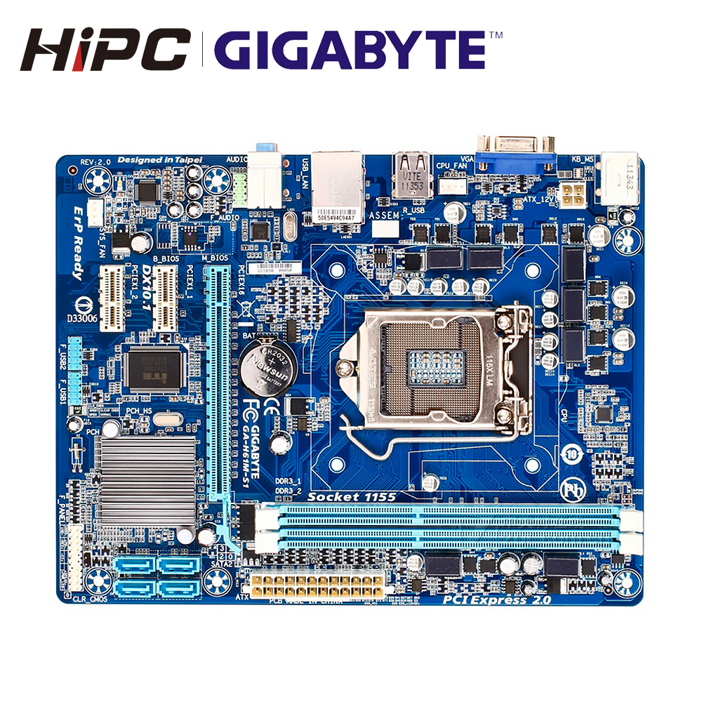 Gigabyte GA-H61M-S1 Desktop Motherboard H61 LGA 1155 I3 I5 I7 DDR3 16G Micro-ATX H61M-S1 Used Mainboard image