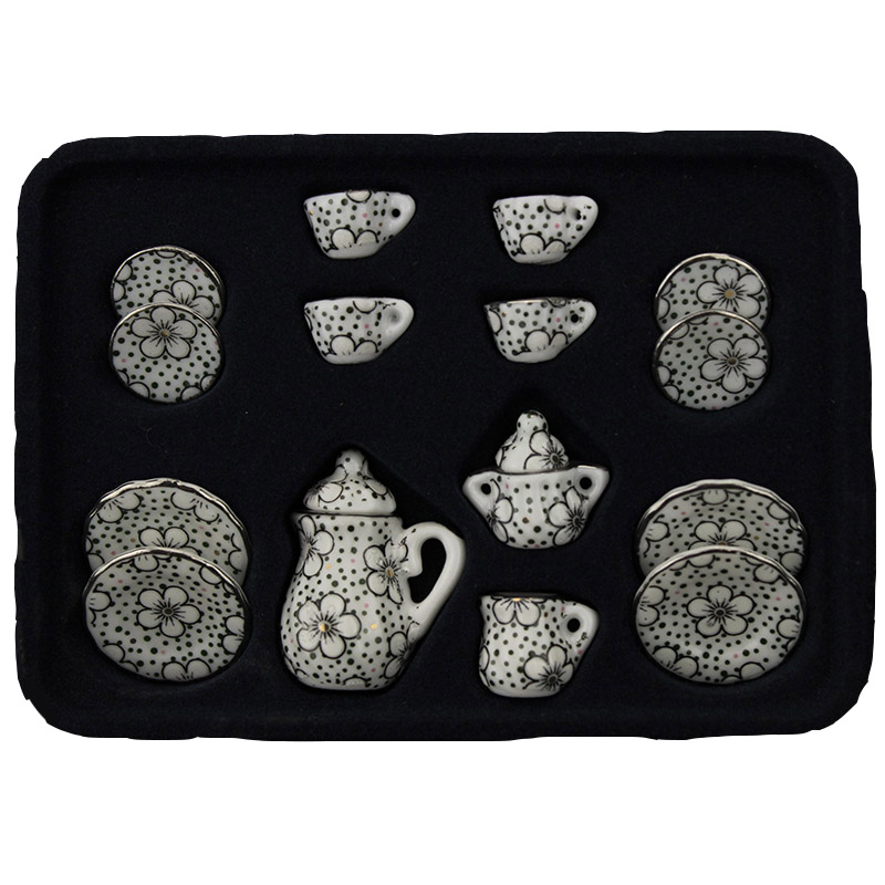 1:12 <font><b>Miniature</b></font> Dining Ware Porcelain Coffee Tea Cup Set Chintz Flower Tableware <font><b>Kitchen</b></font> <font><b>Dollhouse</b></font> <font><b>Furniture</b></font> Toys For Children image