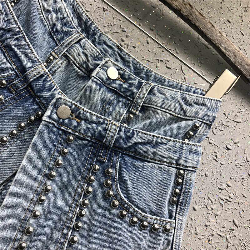 Cyanlee Sommer 2020 Denim Shorts Frauen Niet Licht Blau Hohe Taille Taschen Kurze Jeans Frauen Streetwear