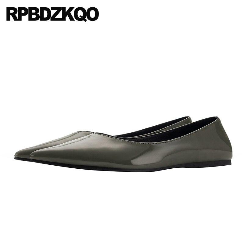 china shallow designer shoes women luxury 2019 ladies pointed toe chinese patent leather flats slip on green large size fashion