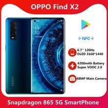 Oryginalny OPPO znajdź X2 5G SmartPhone 8GB RAM 128GB 256GB ROM Snapdragon865 48MP 6.7 ''3168x1440 120Hz ekran NFC 65W Super ładowanie