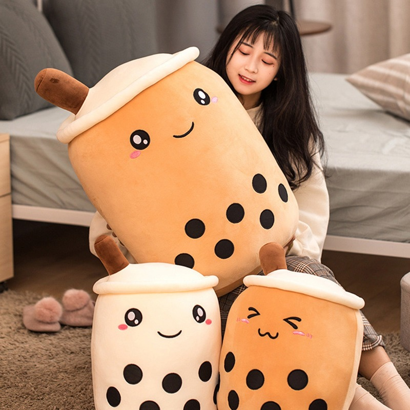 Kids Bubble Tea Plush Toy Stuffed Food Plush Milk Tea Soft Boba Doll Fruit Tea Cup Cushion Kids Toys Birthday Gift