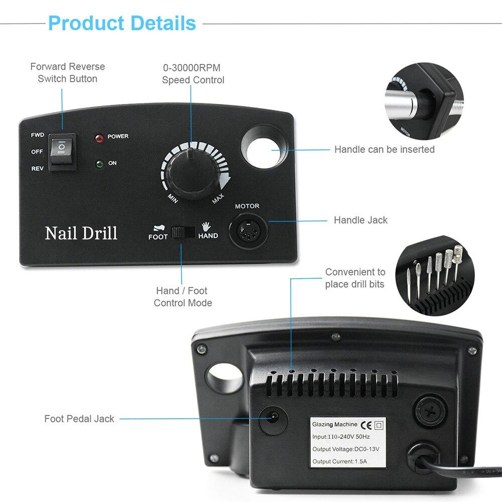 Image 3 - 35000RPM Manicure Machine Nail Drill Machine For Manicure Pedicure Nail Art Equipment Electric Nail File Nail Drill Bit ToolElectric Manicure Drills   -