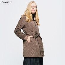 Wool Lined Winter Jacket Women Coffe Brown Coat Belted Hooded Plus Size Long Cotton Coats Fashion Clothes 2019 Slim Woman Jacket hestra deerskin winter lined dark brown