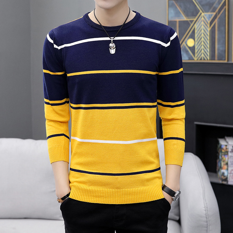 2021 Autumn Men's Casual round Neck Striped Sweater Youth Color Matching Base Thin Sweater 5