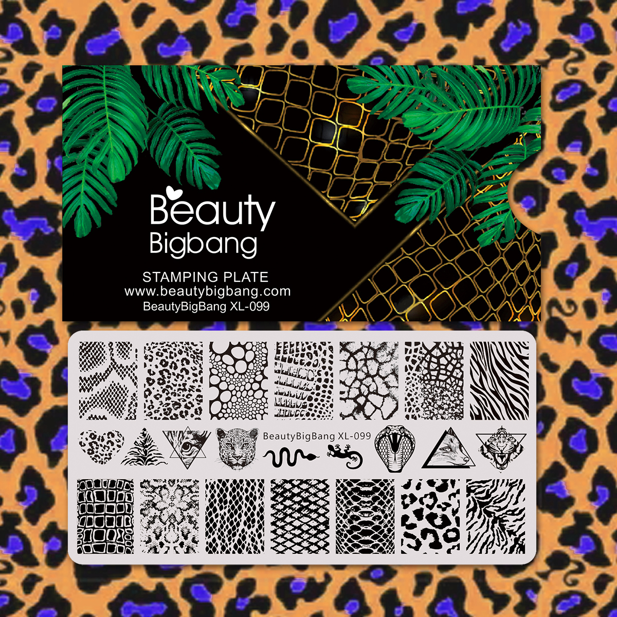 Beauty Bigbang Stamping Plates Leopard Snake Animal Skin Pattern Template Nail Art Accessories Stencil Mold XL-099
