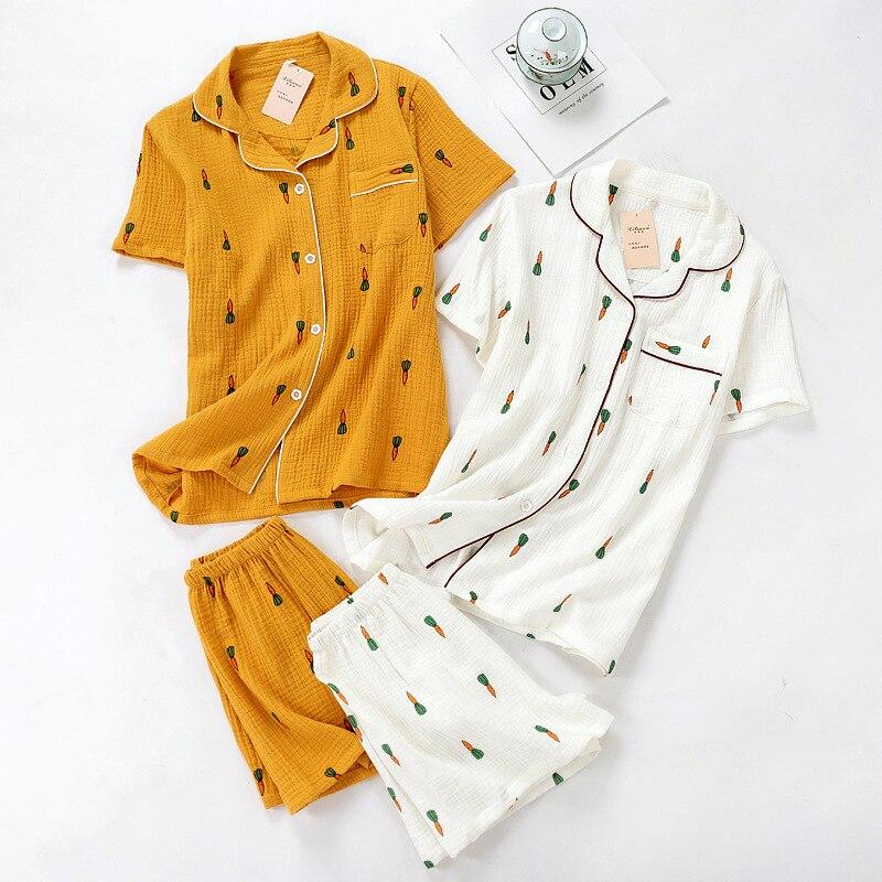 Carrot Short Sleeve Shorts Cotton Crepe Set Washing Cotton Yarn Summer Tracksuit Japanese-style GIRL'S Pajamas Wholesale