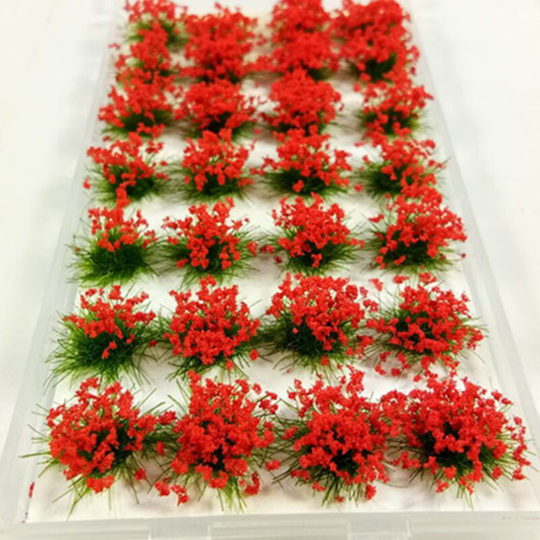 28Pcs Simulation Flower Cluster Flowers Scene Model For <font><b>1</b></font><font><b>:</b></font><font><b>35</b></font>/<font><b>1</b></font><font><b>:</b></font>48/<font><b>1</b></font><font><b>:</b></font>72/<font><b>1</b></font><font><b>:</b></font>87 Scale Sand Table - Green Leaves + Pink Flowers image