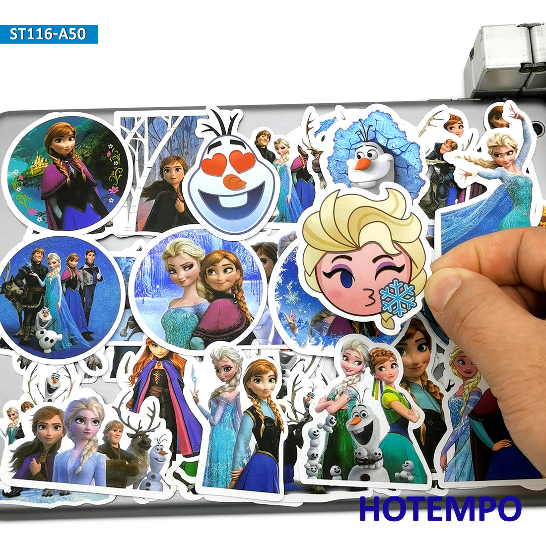 50pcs Cute Elsa Anna Princess Anime Movie Stickers Toys For Kids Girl Scrapbook Stationery Mobile Phone Laptop Suitcase Stickers
