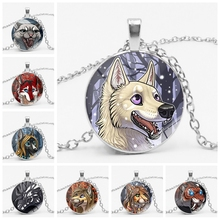 2019 New 3 Color Animal Anime Beast Romantic Badge Pendant Necklace Glass Convex Cute Round Jewelry