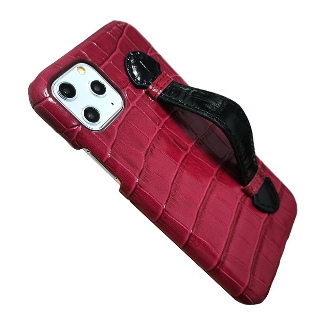 Genuine leather hand strap holder funda case for iPhone 11 12 Pro Max ProMax phone cover luxury crocodile thin hard cases Maroon 3