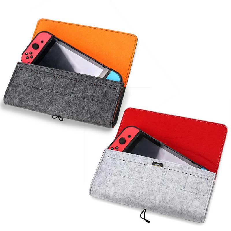 Pochette en feutre sac de rangement de Protection pour Nintendo Switch transporter pochette Portable en daim coque souple avec 5 cartes de jeu pour Nintendo Switch