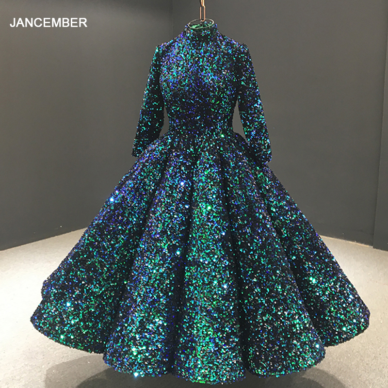 J66991 Jancember Luxury Elegangt Green High Neck Evening Gown Long Sleeve Sequined Formal Dress Evening Vestidos De Finalistas