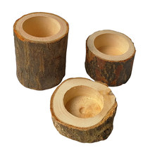 1/3 Pieces Creative Candle Holder Wood Wooden Crafts Decoration Home Pot Handmade Ornaments Candle Holders(China)