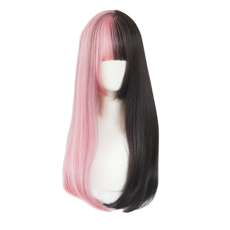 L email wig Pink and Black Lolita Wig Halloween 60cm Long Straight Cosplay Wig with Bangs Heat Resistant Synthetic Hair Perucas in Synthetic None Lace Wigs from Hair Extensions Wigs