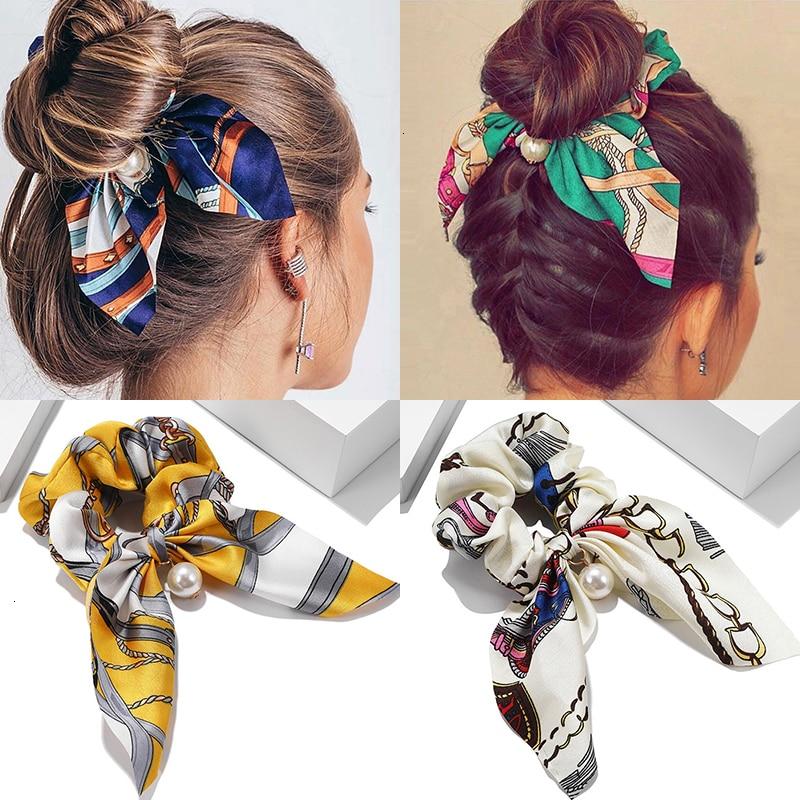 Chiffon Bowknot Hair Scrunchies Fashion Women Pearl Ponytail Holder Tie Hair Elastic Rubber Bands Hair Accessories Rabbit Ears