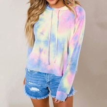 Harajuku Tie Dye Hoodies Sweatshirts For Women Girls Casual Loose Long Sleeve Pullovers Tops Streetwear Female Plus Size Blouse