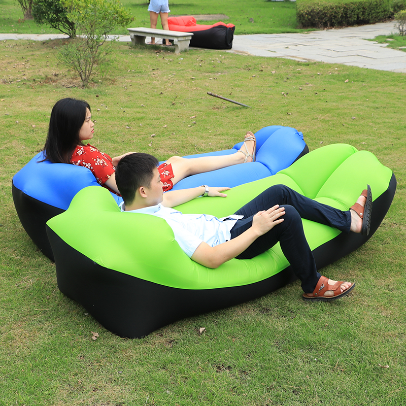Patchwork Portable Inflatable Lazy Sofa With Pillow Camping Travel Rainbow Air Sofa Sleeping Bag Lounger Bag Air Bed 2020 XA339D