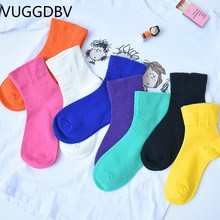 yellow socks korean style women Candy color skarpetki damskie chaussette femme skarpety calcetines mujer