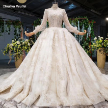 HTL956 vintage lace wedding dress long sleeves tulle high neck open keyhole back new wedding gowns with train sukienka na wesele(China)