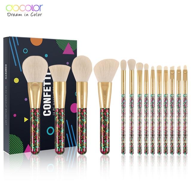 Docolor 14Pcs Christmas Makeup Brushes Professional Powder Foundation Eyeshadow Make up Brushes Set Synthetic Hair Cosmetic Tool