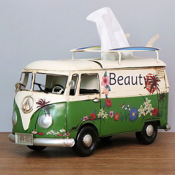 Flower Retro Iron Bus Tissue Box Model Figurines Car Craft Home Decoration Accessories for Living Room Ornaments for Home Decor 22