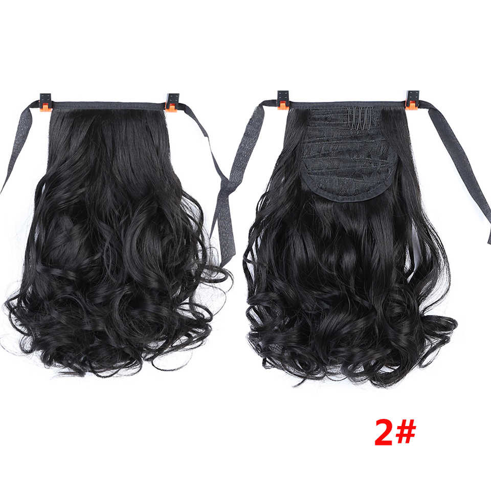 AOSIWIG Short Wavy Ponytails Clip in Hair Extensions Heat Resistant Synthetic Ponytail Natural Hairpiece Black Brown for Women