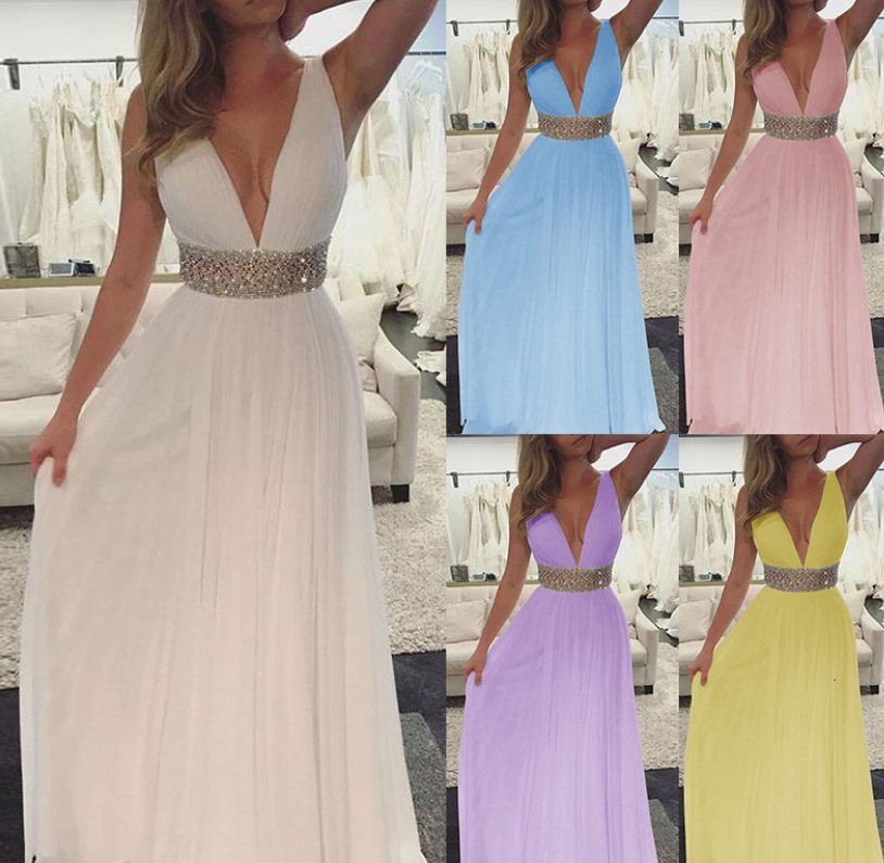 BacklakeGirls Sexy V Neck Sleeveless Party Show Thin Chiffon Long Evening Dress White Pink Prom Dress Vestidos De Fiesta Largos