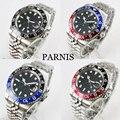 PARNIS Роскошные стерильные Мужские часы с циферблатом с автоматическим перемещением мужские часы t Green GMT ручной вращающийся ободок Авто Дата ...