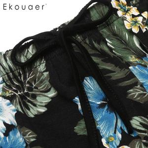 Image 5 - Ekouaer 섹시한 sunmer 잠옷 세트 여성 라운지 잠옷 민소매 카미 탑스 프린트 반바지 바지 잠옷 nightwear set
