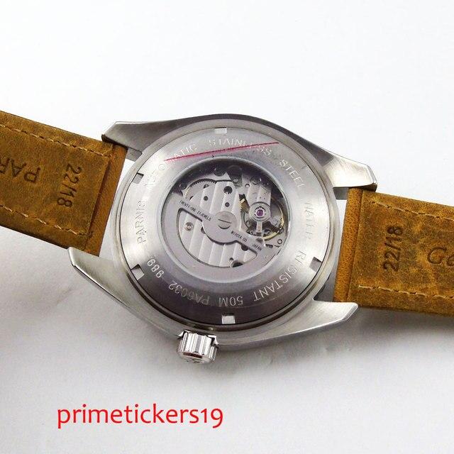 Białe znaki 45mm czarna tarcza parnis szafirowe szkło ceramiczna ramka szkiełka zegarka automatyczny męski zegarek 289