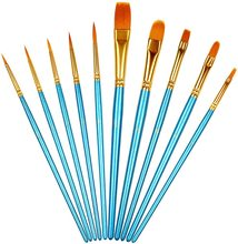 10pcs Nylon Hair Fine Paint Brushes Set For Acrylic Watercolor Oil Crafts Nail Rock Face Miniature Model Painting Paint Brush 9pcs painting brushes for watercolor oil acrylic body nail face paint painting artist fan brushes set nylon hair paint brush