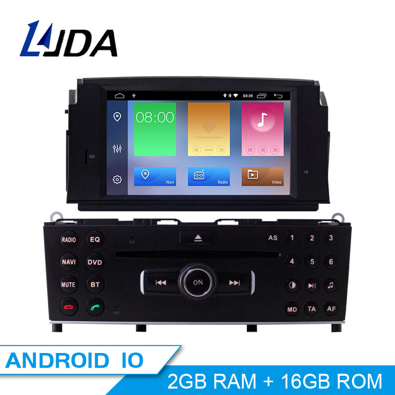 LJDA 1 Din <font><b>Android</b></font> 10 Car DVD Player For Mercedes Benz C200 C180 <font><b>W204</b></font> 2007 2008 2009 2010 Gps <font><b>Navigation</b></font> Stereo Radio Multimedia image