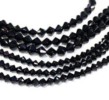 Биконовая свободная бусина из натурального черного оникса для
