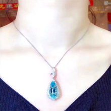 Luxury big aquamarine gemstones diamonds Pendant necklaces for women blue crystal 18k White gold silver choker chain jewelry(China)