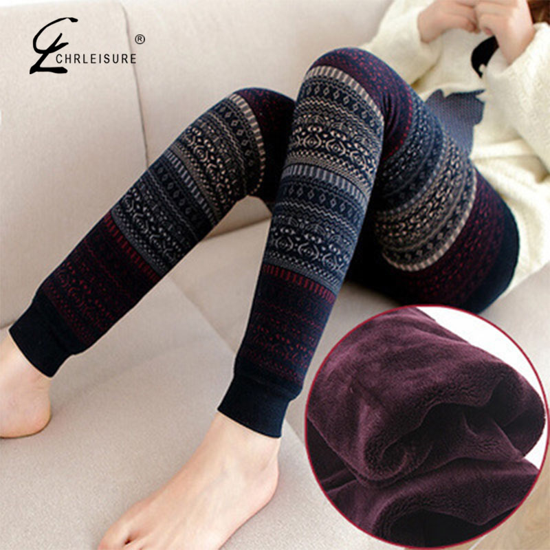 CHRLEISURE Fashion Winter Warming Leggings Women High Waist Legging Slim Christmas Print Jeggings Winter Pants 5 Colors