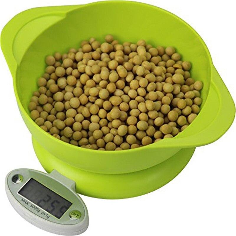 5 KG/1g תצוגת LCD אלקטרוני מטבח בקנה מידה אלקטרוני מטבח מזון דיאט דואר איזון בקנה מידה משקל כלי עם מגש ירוק
